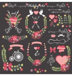 Wedding card floral Decor toolkit Wreathheart vector image