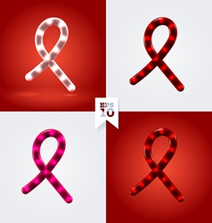 White red and pink ribbon garland cancer and hiv vector image