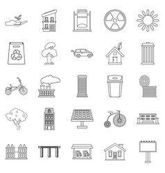 Wind energy icons set outline style vector