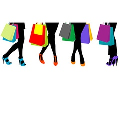 Women silhouettes legs with high heels and vector image vector image
