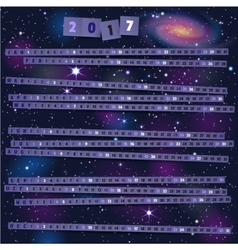 Year Calendar with paper strips on joyful cosmic vector image vector image