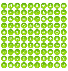 100 toys for kids icons set green circle vector
