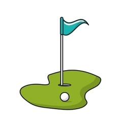 Ball hole and flag of golf sport design vector