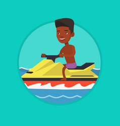 African man training on jet ski in the sea vector