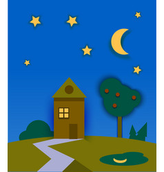 night time nature landscape with house moon and vector image