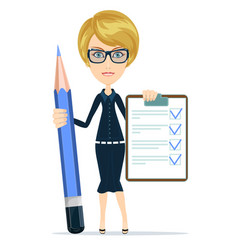 Woman with a questionary and big green pencil vector