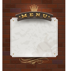 Menu wooden signboard and paper banner vector image