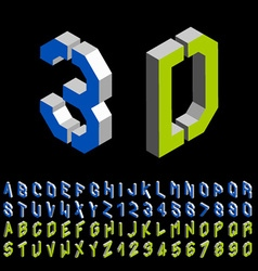 3d stencil angular isometric font alphabet vector