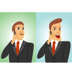 Two businessmen talking on the phone vector