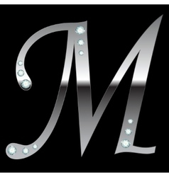 Silver metallic letter m vector