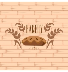 Bakery logo on brick wall beackground vector