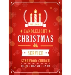 Christmas candlelight service church invitation vector