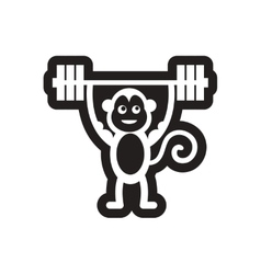 Style black and white icon monkey athlete vector