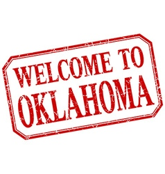 Oklahoma - welcome red vintage isolated label vector