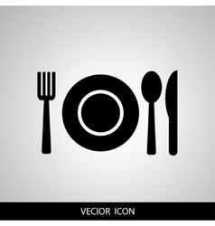 Black restaurant menu icon plate with cutlery vector image