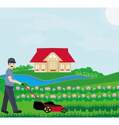A of a man mowing the lawn vector image