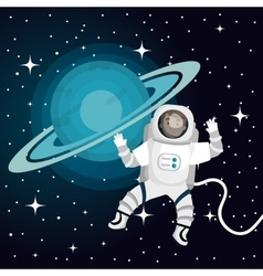 Astronaut cartoon space isolated vector