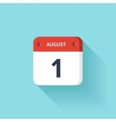 August 1 Isometric Calendar Icon With Shadow vector image