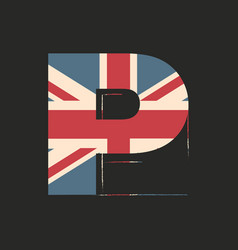Capital 3d letter p with uk flag texture isolated vector