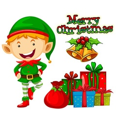 Christmas elf and christmas presents vector image vector image