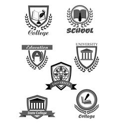 college or university and school icons set vector image