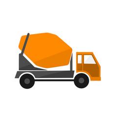concrete mixing truck flat design industrial vector image vector image