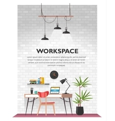Creative office interior in loft space vector image vector image