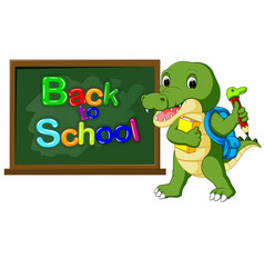 Cute crocodile with back pack vector