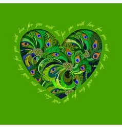 Green painted peacock feathers heart design love vector