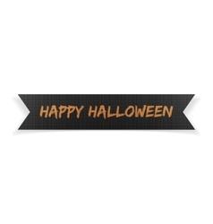 Happy Halloween black greeting Ribbon vector image vector image