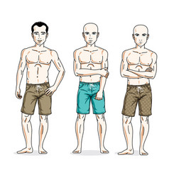 happy men standing in colorful beach shorts vector image