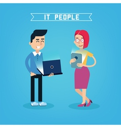 IT People IT Professional Programmer with Laptop vector image vector image