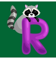 letter R with animal raccoon for kids abc vector image