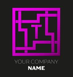 Letter t symbol in colorful square maze vector