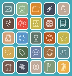 Mail line flat icons on blue background vector image vector image