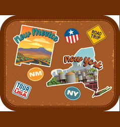 New mexico new york travel stickers vector