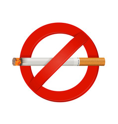 No smoking realistic cigarette sign vector