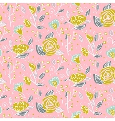 Seamless floral pattern with hand drawn flowers on vector image