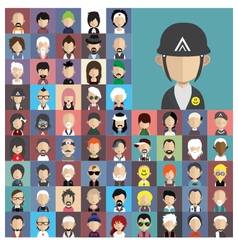 Set of people icons in flat style with faces vector image vector image