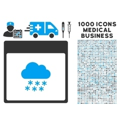 Snow cloud calendar page icon with 1000 medical vector