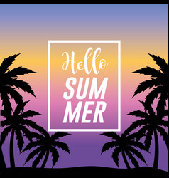 sumer vacation in the island with palm trees vector image