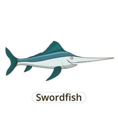 Swordfish underwater animal cartoon vector