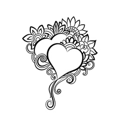 Two hand-drawn hearts vector