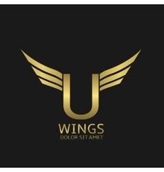 Wings u letter logo vector