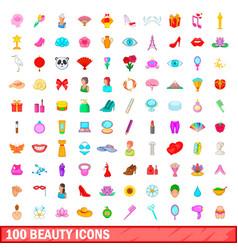 100 beauty icons set cartoon style vector