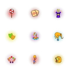 Circus performance icons set pop-art style vector