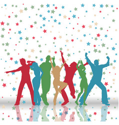 party people on stars pattern background vector image