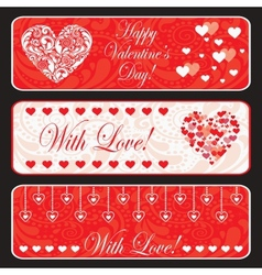 Valentine day web horizontal banner set vector