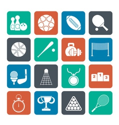 Silhouette sport equipment icons vector