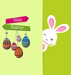 Easter bunny with eggs colorful card vector